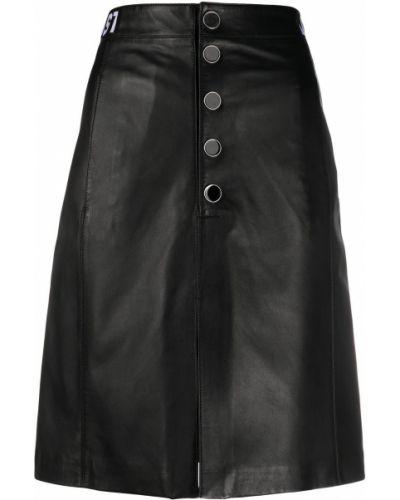 Черная кожаная юбка на пуговицах Just Cavalli