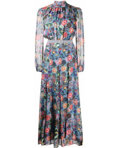 Синее платье макси в цветочный принт Saloni