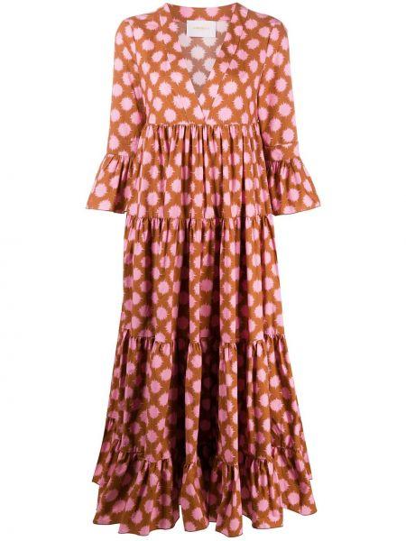 Розовое платье мини с запахом с V-образным вырезом на молнии La Doublej