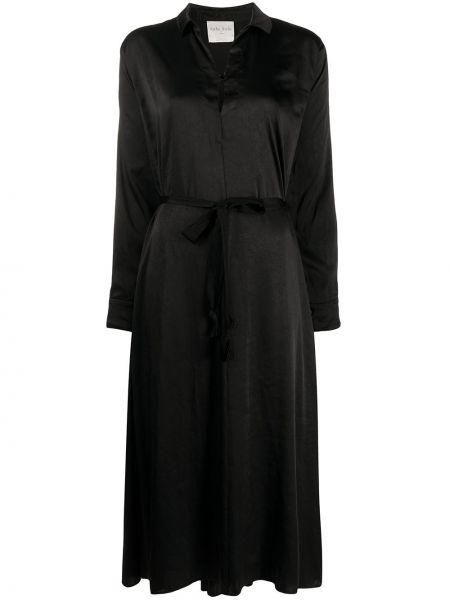 Платье миди на пуговицах черное Forte Forte