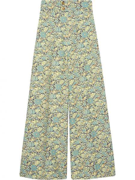 Spodni wełniany zielony spodnie Gucci