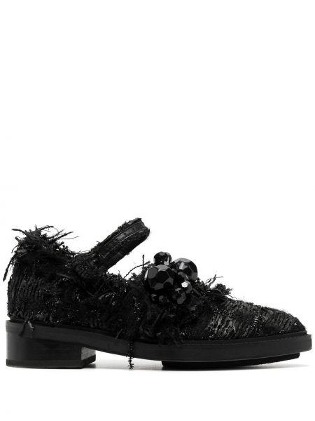 Czarny buty brogsy z perłami z ostrym nosem na pięcie Simone Rocha