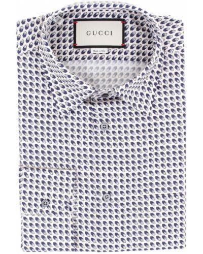 Klasyczna klasyczna koszula z długimi rękawami z jedwabiu Gucci