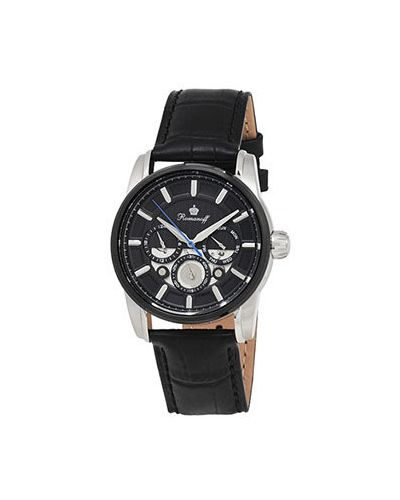 Часы водонепроницаемые с черным циферблатом кварцевые Romanoff