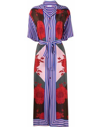 Шелковое красное платье миди на пуговицах P.a.r.o.s.h.