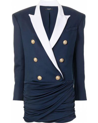 Niebieski z rękawami długo sukienka z wiskozy Balmain