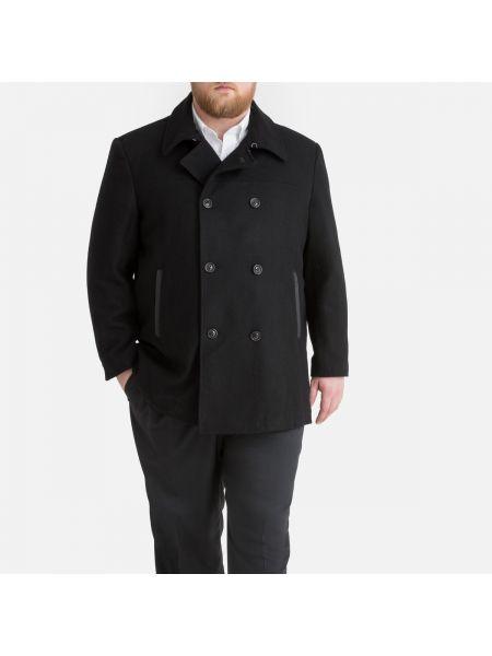 Черное шерстяное пальто с воротником на молнии La Redoute