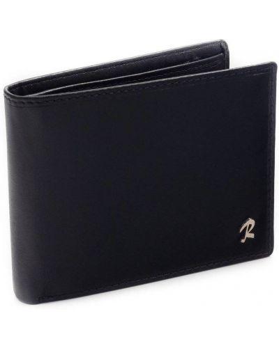 Skórzany czarny klasyczny portfel na monety przeoczenie Rovicky