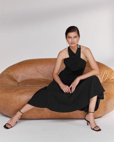 Открытое черное платье миди с жемчугом 12storeez