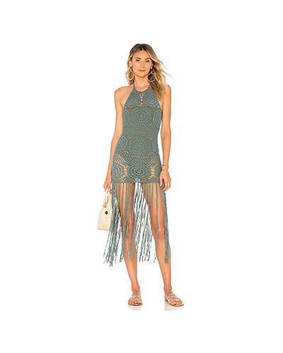 Платье мини с бахромой с воротником Majorelle