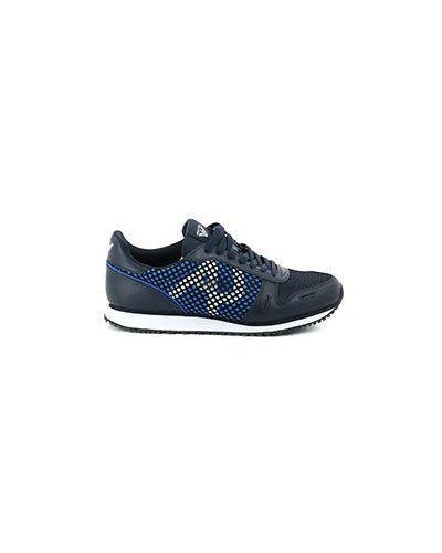 Синие кожаные кроссовки беговые Armani Jeans