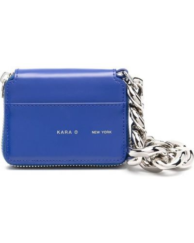 Niebieska torba na ramię skórzana z printem Kara