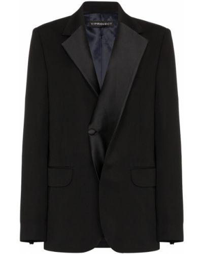 Сатиновая черная длинная куртка с манжетами Y/project