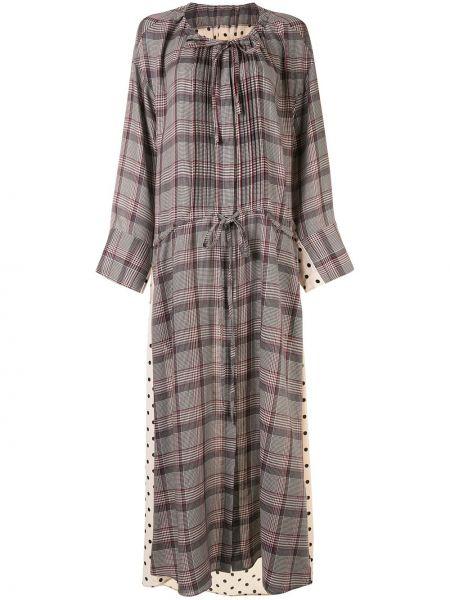 Свободное коричневое платье макси свободного кроя с завязками Maison Mihara Yasuhiro