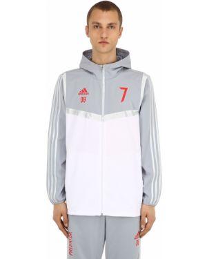Biała kurtka z kapturem w paski Adidas Football