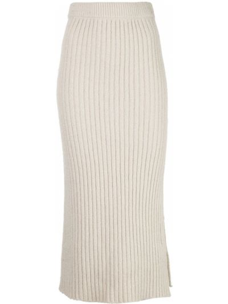 Шерстяная с завышенной талией юбка миди с разрезом в рубчик Altuzarra