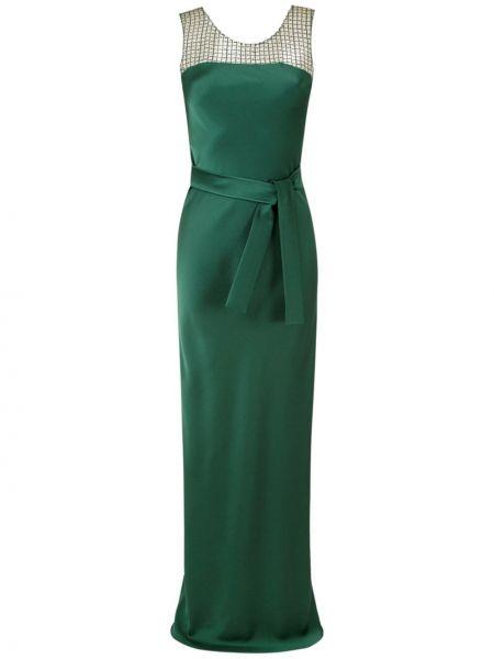 Прямое зеленое платье на шнуровке со вставками Gloria Coelho