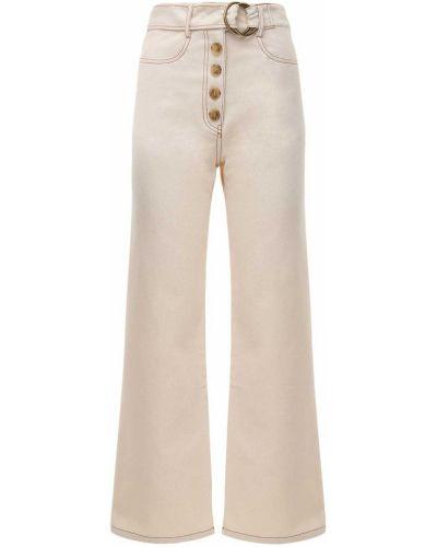 Белые широкие джинсы с карманами свободного кроя Rejina Pyo