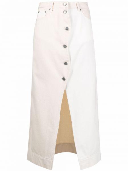 Spódnica jeansowa z paskiem - biała Ganni