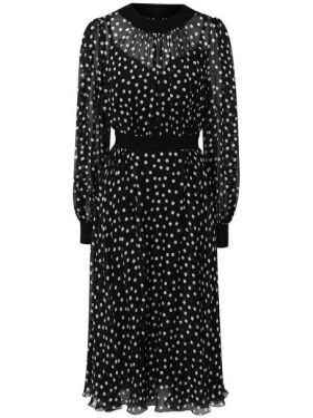 Платье с поясом в горошек со складками Dolce & Gabbana