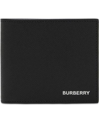 Czarny portfel z prawdziwej skóry z gniazdem Burberry
