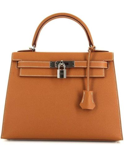 Коричневая сумка на молнии Hermès