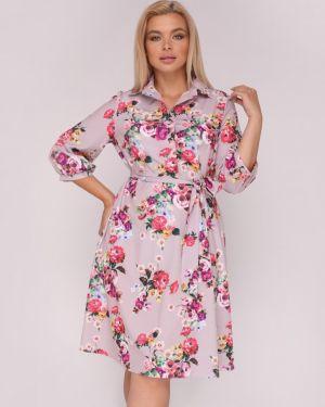 Платье с поясом на пуговицах с цветочным принтом Ellcora