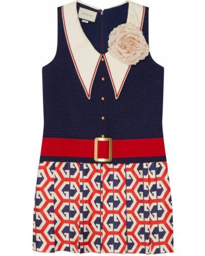 Платье мини с поясом с вырезом Gucci