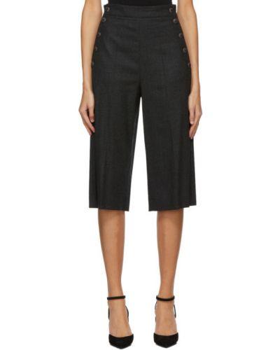Темно-серые шерстяные шорты с карманами Max Mara