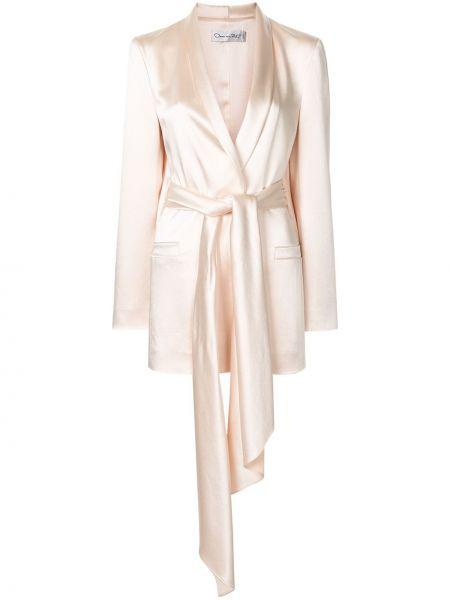 Розовый пиджак с карманами из вискозы Oscar De La Renta