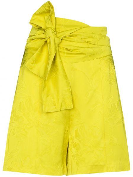 Желтые шорты с поясом из вискозы Silvia Tcherassi