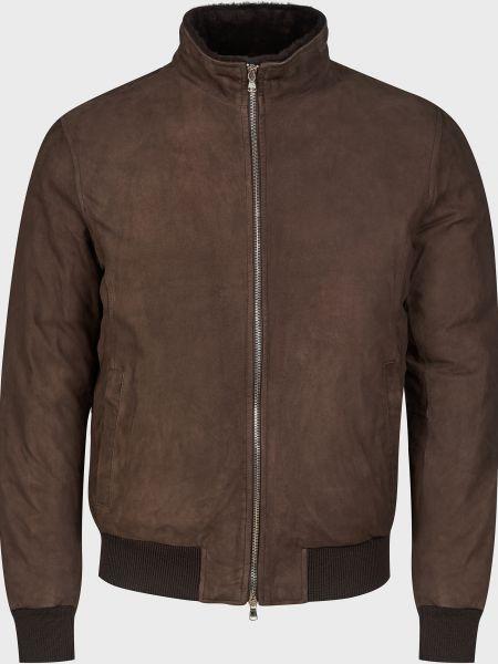 Кожаная куртка на молнии - коричневая Barba Napoli