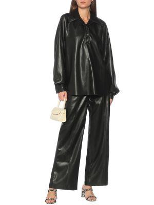 Мягкая кожаная черная рубашка Nanushka
