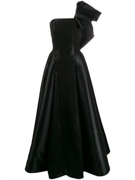 Черное нейлоновое пышное платье с жемчугом Avaro Figlio