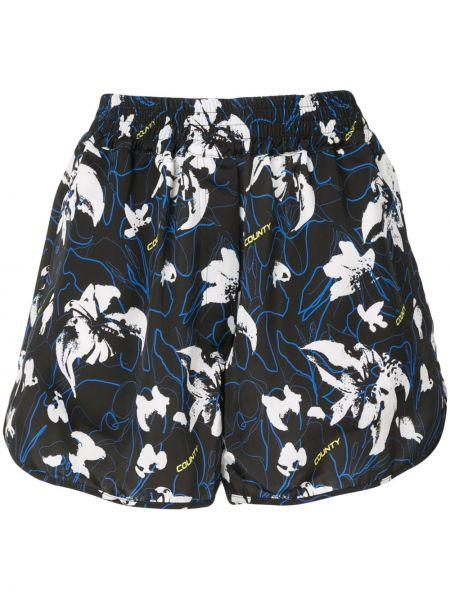Короткие шорты черные с цветочным принтом Marcelo Burlon. County Of Milan