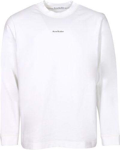 Biały t-shirt bawełniany z printem Acne Studios