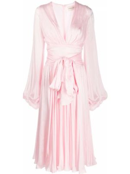 Różowa sukienka midi rozkloszowana z długimi rękawami Alexandre Vauthier