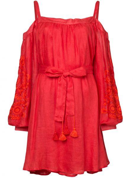 Платье с поясом с вышивкой с открытыми плечами March 11