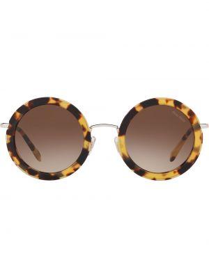 Прямые солнцезащитные очки круглые металлические Miu Miu Eyewear