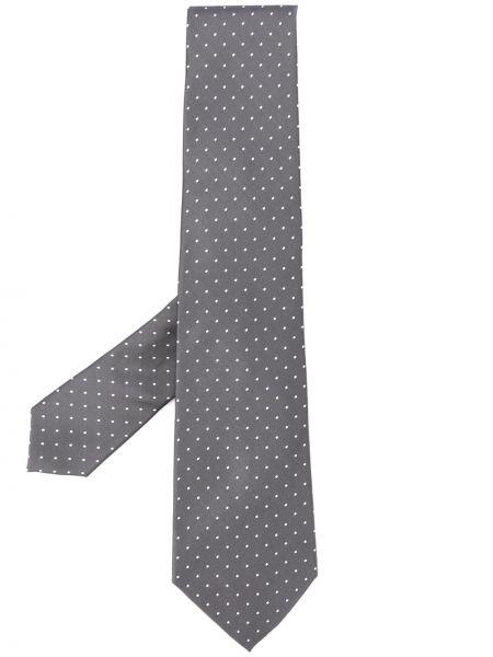 Серый шелковый галстук с вышивкой Ralph Lauren