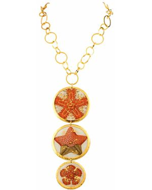 Pomarańczowy złoty naszyjnik Evocateur