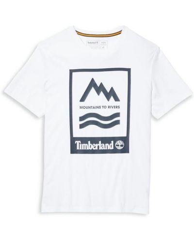 Хлопковая белая футболка с короткими рукавами Timberland