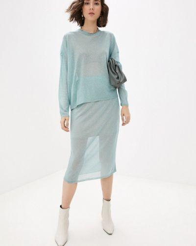 Костюмный бирюзовый юбочный костюм Fors