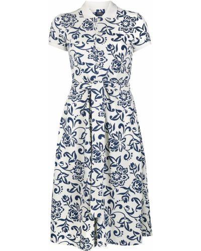 Niebieska sukienka mini rozkloszowana krótki rękaw Polo Ralph Lauren