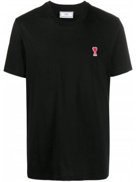 Czarny t-shirt bawełniany krótki rękaw Ami