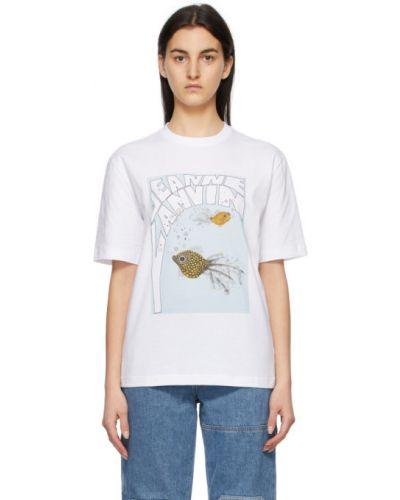 Biały t-shirt bawełniany krótki rękaw Lanvin