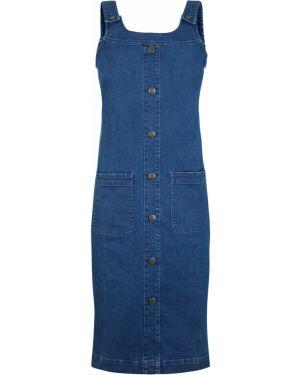 Синее джинсовое платье на пуговицах на бретелях Bonprix