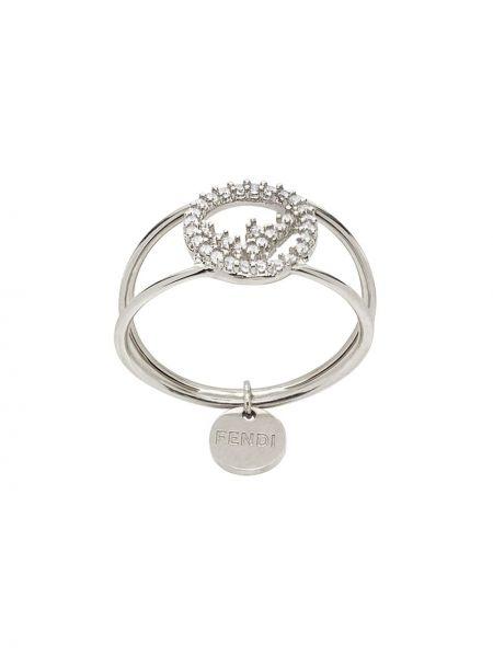 Кольцо металлическое - серебряное Fendi