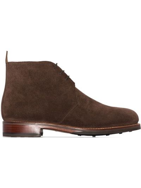 Кожаные коричневые сапоги на шнуровке на каблуке Grenson