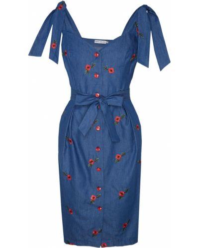 Платье с поясом с декольте на пуговицах Fashion.love.story